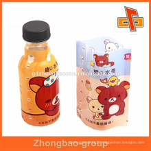 2015 heat shrinking plastic bottle label for baby drinks with colorful print