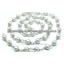 Beautiful Fresh Water Pearl Beaded Chain, Wholesale Gemstone Jewelry Manufacturer