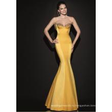 Горячая Продажа Атласная Золото Вечернее Платье Партии Платье