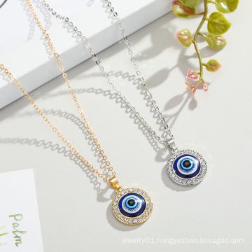 2021 New Fashion Jewelry Glod Plating Turkish Evil Blue Eye Pendant Necklace