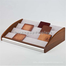 Leather Bag Retail Display Shelving Countertop Promotional 4-Layer Solid Wood Wallet Display Stand