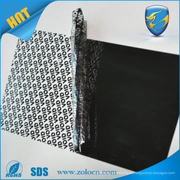 Etiqueta de inválburação não residual de resíduos 3m etiqueta adesiva material garantia rolo de material vazio para setores automotivos