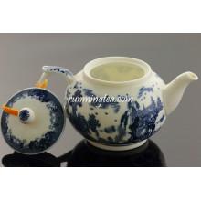 300cc oscuro Paisaje azul Tetera de cerámica / tetera