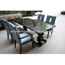 two base restaurant table with 4 blue arm chairs XY0190