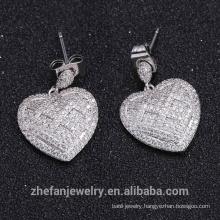 2018 hot sale stud earrings white zircon heart shape design earring