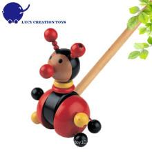 Toddlers Lovely Wooden Ladybug Push Along Toy