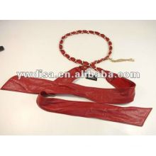 Red Lady's Leather Waist Belt Leather Ribbon