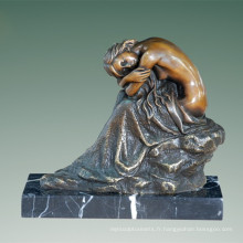 Femme Art Figure Bronze Sculpture Nue Lady Intérieur En Laiton Statue TPE-509