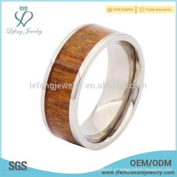 Anéis de prata e titânio de madeira para homens, anéis em titânio de madeira