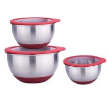 Transparent lid food storage mixing bowl set