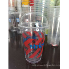 Wegwerfplastik Smoothie Cups, gewölbte Deckel u. Strohhalme