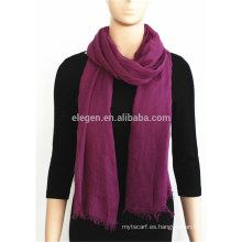 Bufanda de color liso con flecos