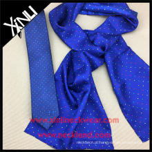 Conjunto de gravata personalizada magro para homem com lenço de seda para mulher