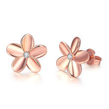 Rose Gold Plated Flower Shape Earrings Zinc Alloy Material Gold Color Women Jewelry