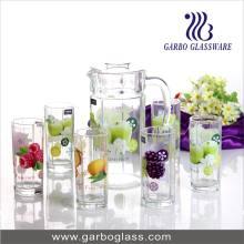 Ensemble de verres en verre de qualité, Ensemble d'eau de 7 PC avec fleur décorative, Ensemble de citron pour jus