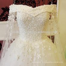 Vestido de Noiva Vintage Lace Appliques Crystal Waist Robe de Mariage Bridal Ball Gown Wedding Dresses MW950
