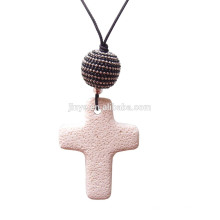 Lava Cross Necklace, Bohemian Long Lava Cross Collar colgante con cordón negro