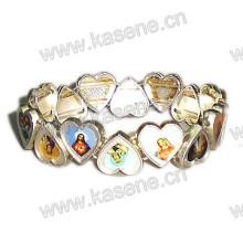Heart-Shaped Alloy Rosary Bracelet, Saint Bracelet