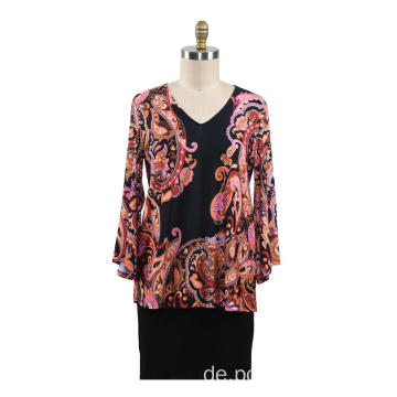 Herbst Frauen T-Shirt Fix Print Loose Tops