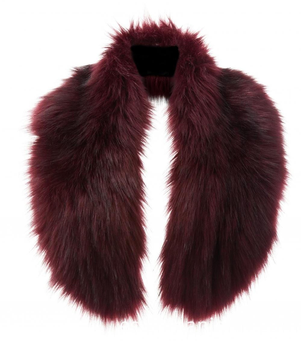 Dark Red Faux Fur Oversized Collar