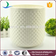 Wholesale embossed white ceramic luxury trash can