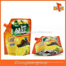 Stand up embalagem de alimentos líquidos estanques com bico para suco de frutas
