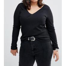 Schwarz Plus Size Fashion V-Ausschnitt Großhandel benutzerdefinierte Frauen T-Shirt