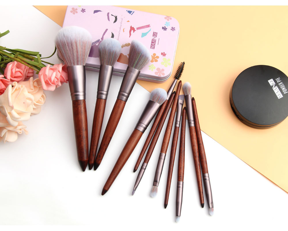 11 Piece Animal Hair Makeup Brush 2