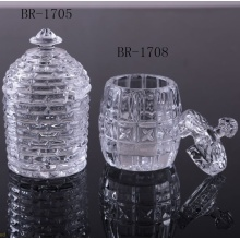 Clear glass honey jar for home