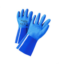 Long Sleeves Waterproof Sandy Coated PVC Gloves With Cotton Lining