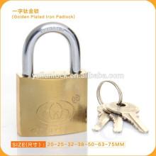 Herramientas de hardware Hardened Steel shackle titanium plated Candado de hierro dorado