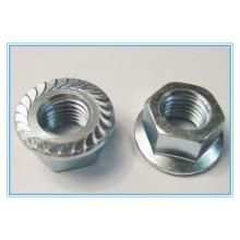 Porca de flange hexagonal em aço inoxidável liso (DIN6923)