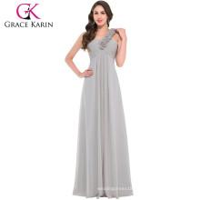 Grace Karin Chiffon Floor Length One Shoulder floral strap Long Formal Bridesmaid Dress CL3402-3#