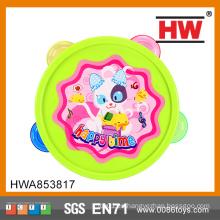 2015 nuevo diseño divertido anillo de la campana bebé juguetes hechos a mano pandereta