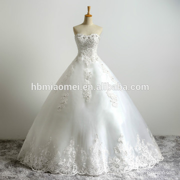 Latest Design Bride Gorgeous White Lace Fabric Appliqued Beading Strapless Floor Length Tulle Puffy Ball Gown Wedding Dress