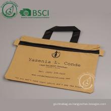 Barato personalizado a4 bolso de la cremallera del documento con logotipo de impresión