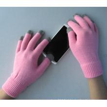 Luva cor-de-rosa da tela de toque de cinco dedos do forro do poliéster 10g