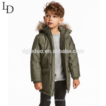 Mode Kinder Winter Tier Fell Kapuze lange Jacke Winter Daunenmantel für Jungen