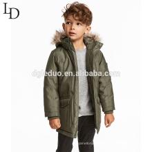 Fashion children winter animal fur hooded long jacket winter down coat for boys