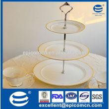 3 яруса торт стоять / фрукты пластины с элегантной живописи, золотые украшения