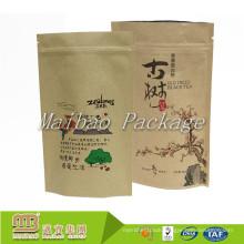 Factory Supplier Custom Private Label Printing Aluminum Lined Ziplock Empty Tea Packaging Paper Bag