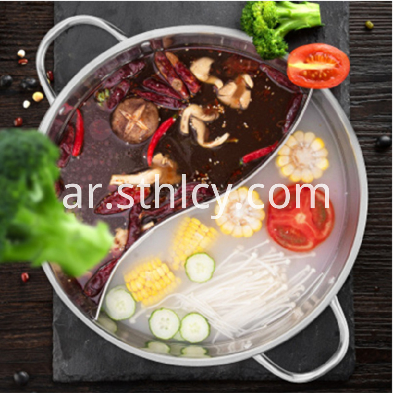 Stainless Steel Two-grid Restaurant Hot Pot