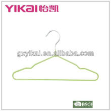 PVC coated metal kids hangers with trousers bar and notches for straps