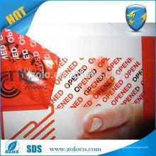 Nuevo adhesivo acrílico de vinilo de alta calidad Cinta adhesiva de seguridad de transferencia total de cinta adhesiva para bolsas anti-manipulación