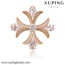 00025 Mode élégante broche bijoux en zircon cubique en plaqué or rose