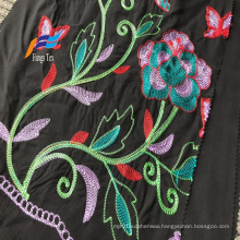 Formal Black 100 Polyester Wool Peach Embroidery Fabric