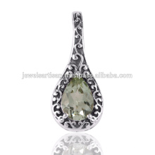 Green Amethyst 925 Solid Silver Pendant Jewelry