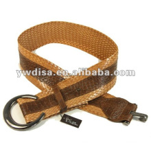 Women's Braided Belt With Coffee PU, Alloy Accessories, Gun-Metal Plated