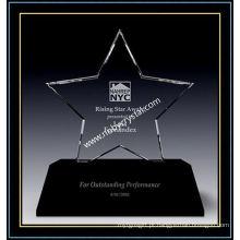 Prêmio de estrela de cristal transparente triunfo com base preta (NU-CW866)