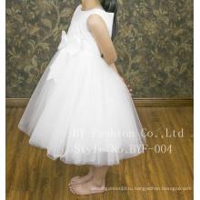 Без рукавов простой красивый бант цветочница платье шаблоны для свадебного
